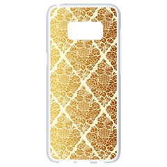 Vintage,gold,damask,floral,pattern,elegant,chic,beautiful,victorian,modern,trendy Samsung Galaxy S8 White Seamless Case by 8fugoso