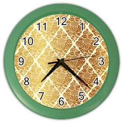 Vintage,gold,damask,floral,pattern,elegant,chic,beautiful,victorian,modern,trendy Color Wall Clocks by 8fugoso