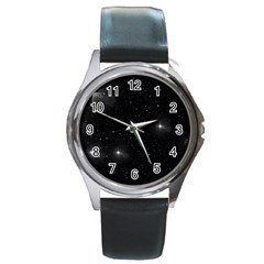 Starry Galaxy Night Black And White Stars Round Metal Watch by yoursparklingshop
