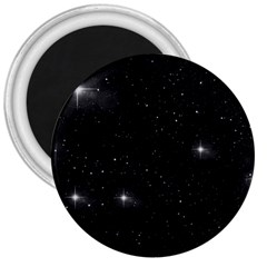Starry Galaxy Night Black And White Stars 3  Magnets by yoursparklingshop