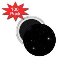 Starry Galaxy Night Black And White Stars 1 75  Magnets (100 Pack)  by yoursparklingshop