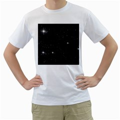 Starry Galaxy Night Black And White Stars Men s T Shirt (white) (two Sided) by yoursparklingshop