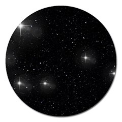 Starry Galaxy Night Black And White Stars Magnet 5  (round) by yoursparklingshop