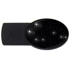 Starry Galaxy Night Black And White Stars Usb Flash Drive Oval (2 Gb) by yoursparklingshop