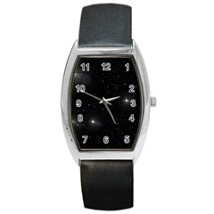 Starry Galaxy Night Black And White Stars Barrel Style Metal Watch by yoursparklingshop