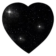 Starry Galaxy Night Black And White Stars Jigsaw Puzzle (heart) by yoursparklingshop