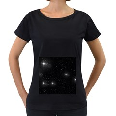 Starry Galaxy Night Black And White Stars Women s Loose Fit T Shirt (black) by yoursparklingshop
