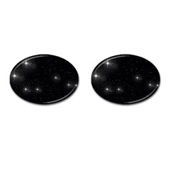 Starry Galaxy Night Black And White Stars Cufflinks (oval) by yoursparklingshop