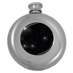 Starry Galaxy Night Black And White Stars Round Hip Flask (5 Oz) by yoursparklingshop