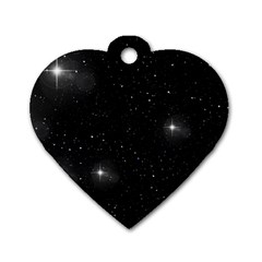 Starry Galaxy Night Black And White Stars Dog Tag Heart (one Side) by yoursparklingshop