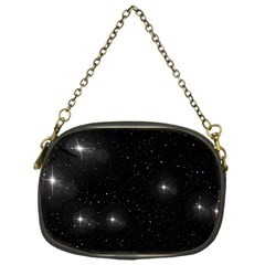 Starry Galaxy Night Black And White Stars Chain Purses (one Side)  by yoursparklingshop