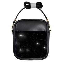 Starry Galaxy Night Black And White Stars Girls Sling Bags by yoursparklingshop