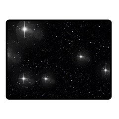 Starry Galaxy Night Black And White Stars Fleece Blanket (small) by yoursparklingshop
