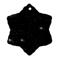 Starry Galaxy Night Black And White Stars Snowflake Ornament (two Sides) by yoursparklingshop