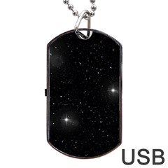 Starry Galaxy Night Black And White Stars Dog Tag Usb Flash (two Sides) by yoursparklingshop