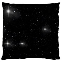 Starry Galaxy Night Black And White Stars Large Cushion Case (one Side) by yoursparklingshop