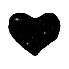 Starry Galaxy Night Black And White Stars Standard 16  Premium Heart Shape Cushions by yoursparklingshop