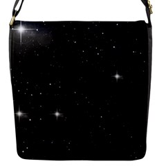 Starry Galaxy Night Black And White Stars Flap Messenger Bag (s) by yoursparklingshop