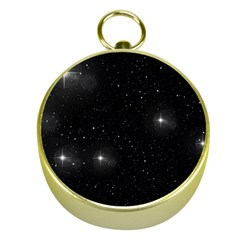 Starry Galaxy Night Black And White Stars Gold Compasses by yoursparklingshop