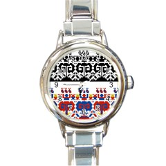 Bulgarian Folk Art Folk Art Round Italian Charm Watch by Celenk