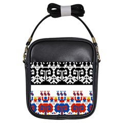 Bulgarian Folk Art Folk Art Girls Sling Bags by Celenk