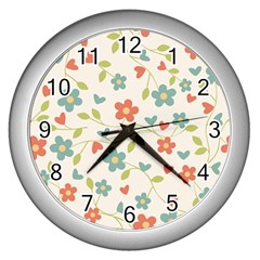 Abstract Art Background Colorful Wall Clocks (silver)  by Celenk