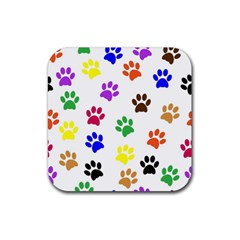 Pawprints Paw Prints Paw Animal Rubber Square Coaster (4 Pack)  by Celenk