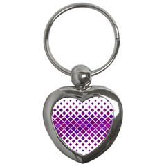 Pattern Square Purple Horizontal Key Chains (heart)  by Celenk