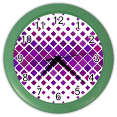 Pattern Square Purple Horizontal Color Wall Clocks by Celenk