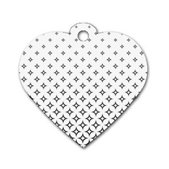 Star Pattern Decoration Geometric Dog Tag Heart (one Side) by Celenk