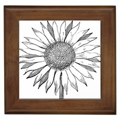 Sunflower Flower Line Art Summer Framed Tiles by Celenk