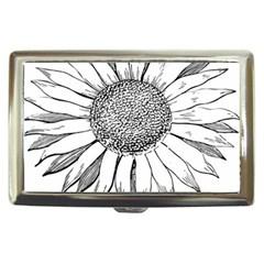 Sunflower Flower Line Art Summer Cigarette Money Cases by Celenk