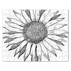 Sunflower Flower Line Art Summer Rectangular Jigsaw Puzzl by Celenk