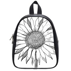 Sunflower Flower Line Art Summer School Bag (small) by Celenk