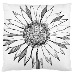 Sunflower Flower Line Art Summer Large Flano Cushion Case (two Sides) by Celenk