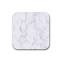 Marble Texture White Pattern Rubber Square Coaster (4 Pack)  by Celenk
