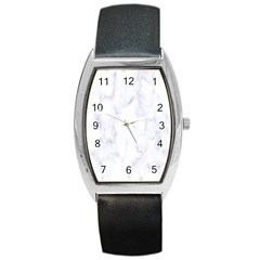 Marble Texture White Pattern Barrel Style Metal Watch by Celenk