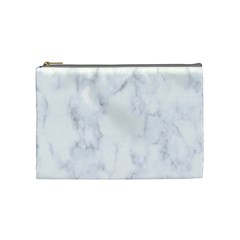 Marble Texture White Pattern Cosmetic Bag (medium)  by Celenk