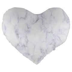 Marble Texture White Pattern Large 19  Premium Heart Shape Cushions by Celenk