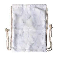 Marble Texture White Pattern Drawstring Bag (large) by Celenk