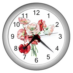 Flowers Poppies Poppy Vintage Wall Clocks (silver)  by Celenk
