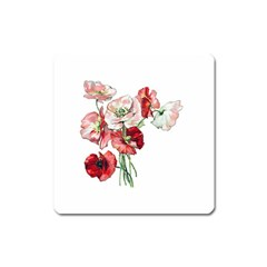 Flowers Poppies Poppy Vintage Square Magnet by Celenk