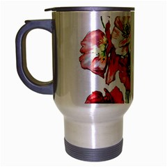 Flowers Poppies Poppy Vintage Travel Mug (silver Gray) by Celenk