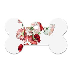 Flowers Poppies Poppy Vintage Dog Tag Bone (two Sides) by Celenk