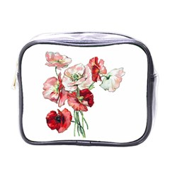 Flowers Poppies Poppy Vintage Mini Toiletries Bags by Celenk