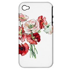 Flowers Poppies Poppy Vintage Apple Iphone 4/4s Hardshell Case (pc+silicone) by Celenk