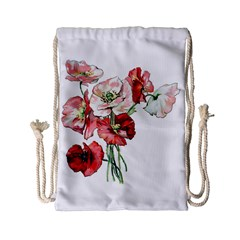 Flowers Poppies Poppy Vintage Drawstring Bag (small) by Celenk