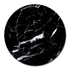 Black Texture Background Stone Round Mousepads by Celenk