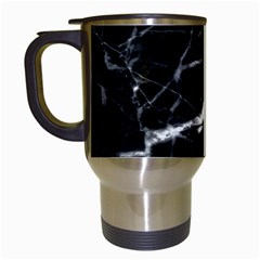 Black Texture Background Stone Travel Mugs (white) by Celenk