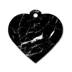 Black Texture Background Stone Dog Tag Heart (one Side) by Celenk